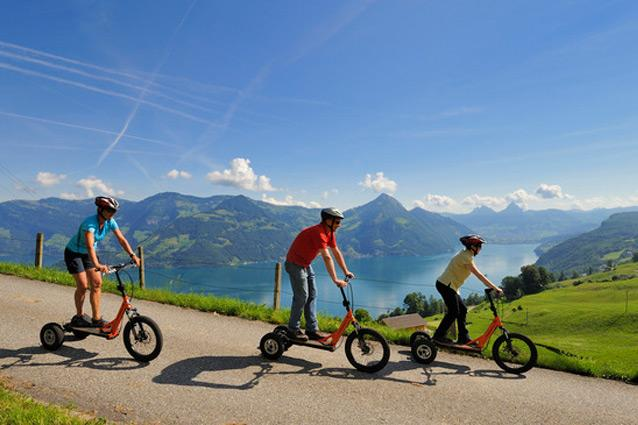 Bike Boarding - The rush: Speed through scenic alpine meadows on this hybrid of a mountain bike and a skateboard. Season: June to September. CNT tip: Rent equipment from AIS Sportschule. (www.ais-sportschule.ch)