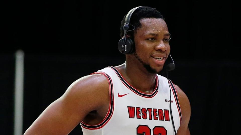 Western Kentucky Hilltoppers center Charles Bassey smiles after the game against the UAB Blazers in 2021