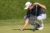 Kramer Hickok lines up his shot on the sixth green during the second round of the Travelers Championship golf tournament at TPC River Highlands, Friday, June 25, 2021, in Cromwell, Conn. (AP Photo/John Minchillo)