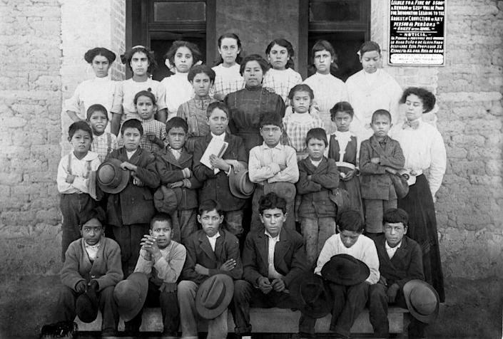 At the Blackwell School in the early 1900s in Marfa, Texas.