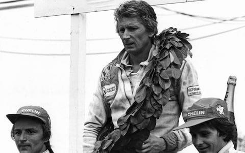 Jean-Pierre Jabouille, Gilles Villeneuve, Grand Prix of France, Dijon-Prenois, 01 July 1979. Arnoux and Villeneuve after their epic battle, while Jabouille's victory was the first of the turbo era - Credit: Hulton Archive