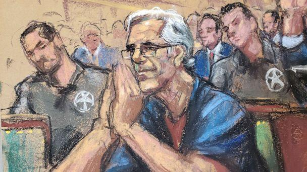 PHOTO: Jeffrey Epstein looks on during a bail hearing in his sex trafficking case, in this court sketch in New York, July 15, 2019. (Jane Rosenberg/Reuters)