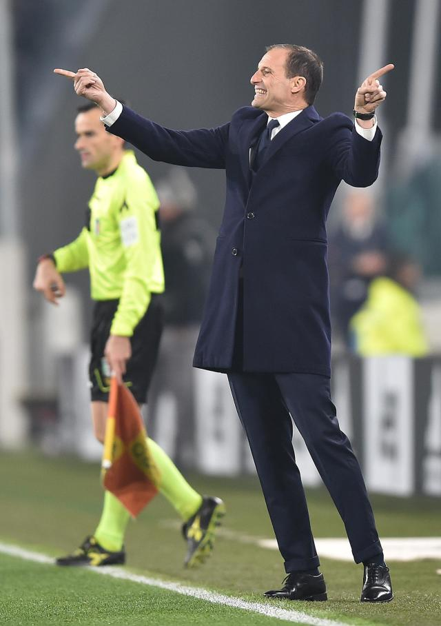 Juventus coach Massimiliano Allegri gestures during the Serie A soccer match between Juventus and Inter Milan at the Turin Allianz stadium, Italy, Friday, Dec. 7, 2018. (Alessandro Di Marco/ANSA via AP)