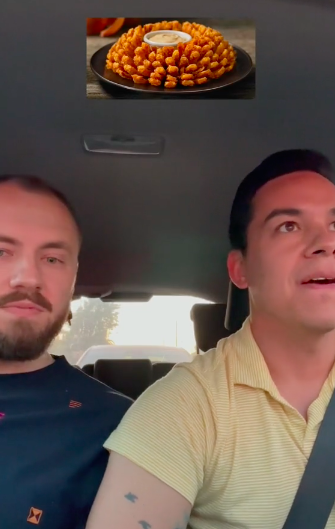 they are in the car with a bloomin onion super imposed on their heads