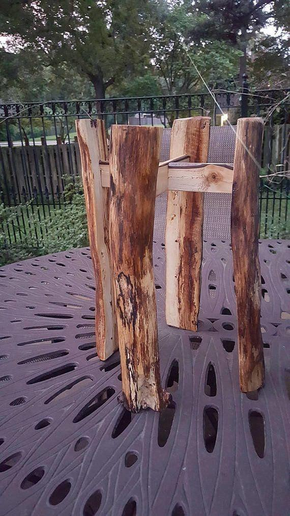 """For your indoor evergreens. <a href=""""https://www.etsy.com/listing/468276207/spalted-solid-wood-plant-stand-rustic"""" target=""""_blank"""">Shop it here</a>."""