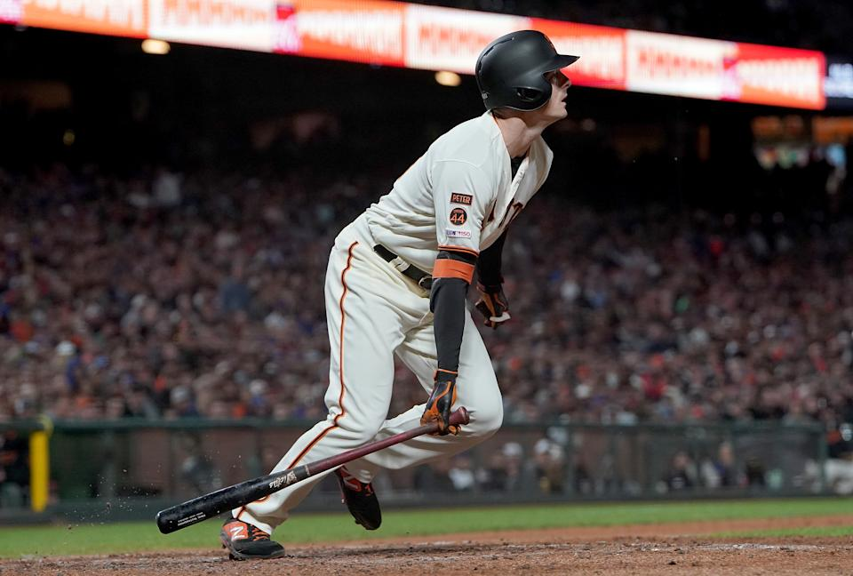 SAN FRANCISCO, CA - JULY 23:  Mike Yastrzemski #5 of the San Francisco Giants bats against the Chicago Cubs in the bottom of the 11th inning at Oracle Park on July 23, 2019 in San Francisco, California.  (Photo by Thearon W. Henderson/Getty Images)