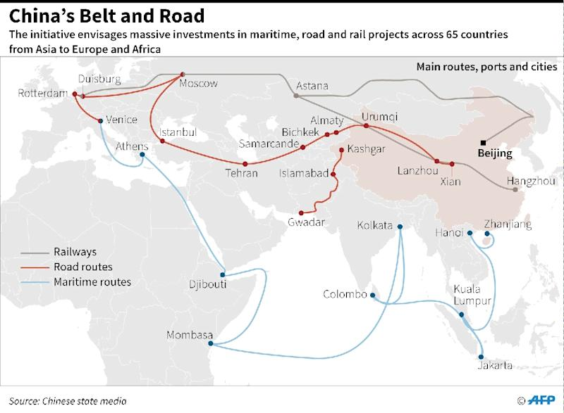 Graphic on China's massive infrastructure investment project including road, rail and ship routes around the world. (AFP Photo/Laurence CHU)