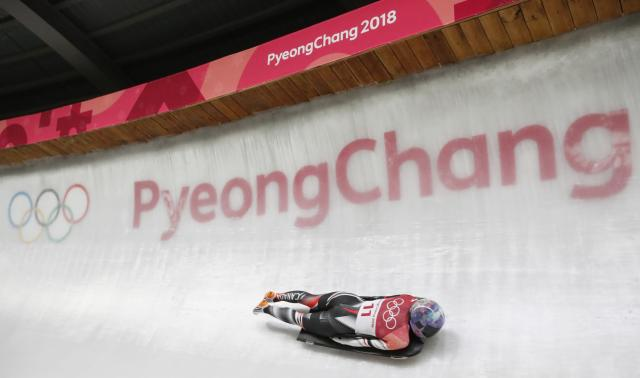 Pyeongchang 2018 Winter Olympics Skeleton - Pyeongchang 2018 Winter Olympics - Women's Finals - Olympic Sliding Centre - Pyeongchang, South Korea - February 17, 2018 - Mirela Rahneva of Canada competes. REUTERS/Arnd Wiegmann
