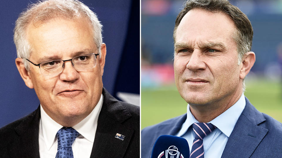 Michael Slater and Scott Morrison, pictured here in 2021.