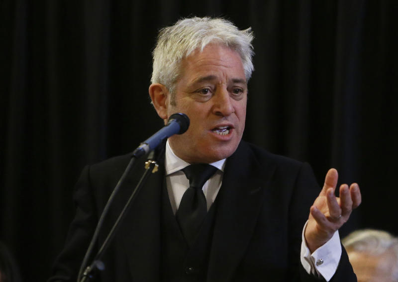 """FILE - In this Thursday, March 22, 2018 file photo, John Bercow, Speaker of the House of Commons speaks at Westminster Hall inside the Palace of Westminster in London. On Tuesday, Sept. 3, 2019 it's time for Britain's Parliament to once again take center stage _ and that means Speaker of the House John Bercow will don his familiar robes and try to keep """"orrrr-duhhh"""" while mediating a titanic clash between Prime Minister Boris Johnson and the legislative branch. There's no doubt Bercow will play a pivotal role in coming days, using his considerable authority to shape the debate and the vote that will determine if a """"no-deal"""" Brexit is blocked and a general election will be held. (AP Photo/Alastair Grant, File)"""