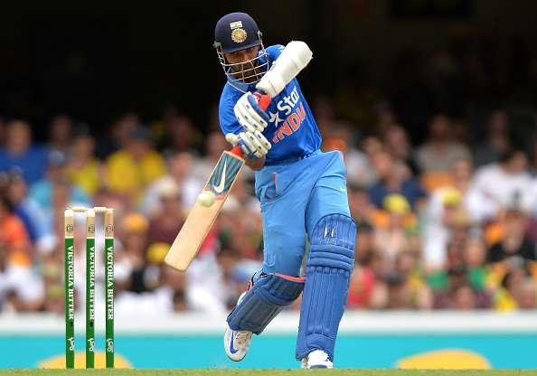BRISBANE, AUSTRALIA - JANUARY 15: Manish Pandey of India plays a shot during game two of the Victoria Bitter One Day International Series between Australia and India at The Gabba on January 15, 2016 in Brisbane, Australia. (Photo by Bradley Kanaris/Getty Images)