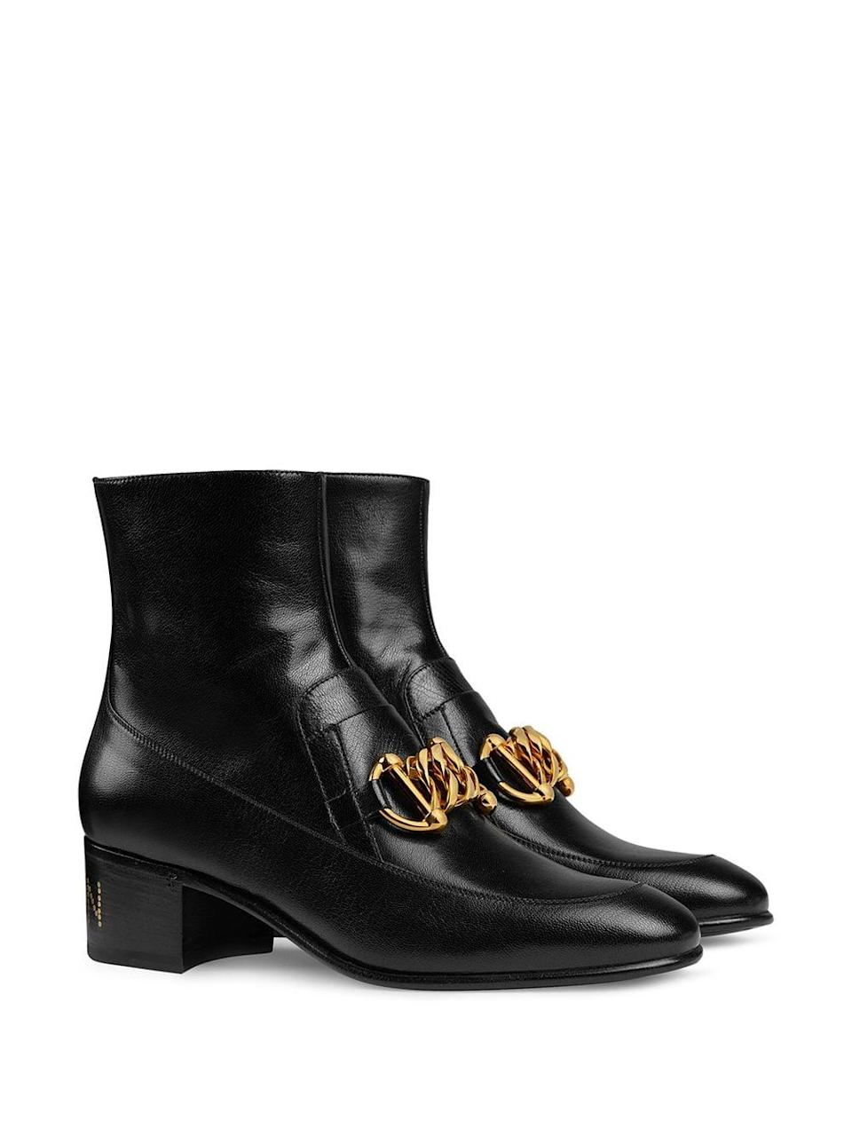 <p>These <span>Gucci Horsebit Chain Loafer Boots</span> ($1,250) are well worth the splurge.</p>