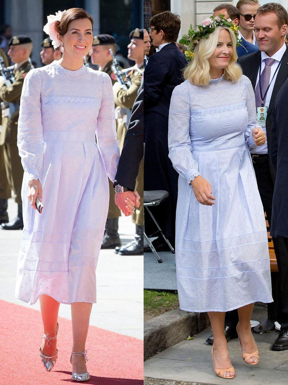 <p><strong>Left:</strong> Princess Claire of Luxembourg attended the 2016 National Day Celebration in Luxembourg wearing a pastel Vilshenko dress.</p><p><strong>Right:</strong> Crown Princess Mette Marit of Norway wore an extremely similar Vilshenko style on the exact same day during a royal event at Stiftsgarden in Trondheim.</p>
