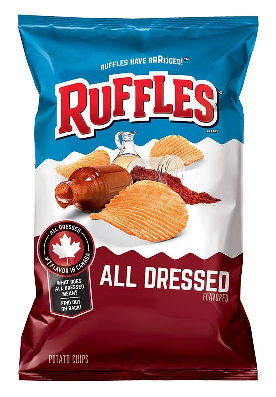 The recall affects select 16 1/8 ounce bags of Ruffles All Dressed chips. (Lays)