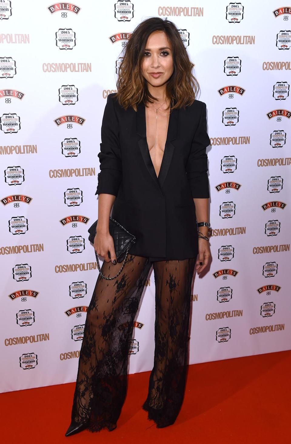 Myleene Klass's questionable get-up included lace trousers and an oversized blazer, worn with nothing underneath. [Photo: Rex]