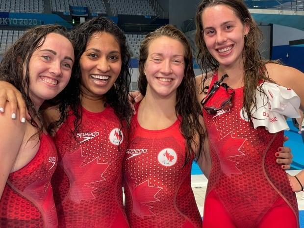The Canadian women's 4x100-metre freestyle relay team was awarded a third-place finish following a pair of disqualifications at the Tokyo Aquatics Centre on Sunday. (Oliver Walters/CBC - image credit)