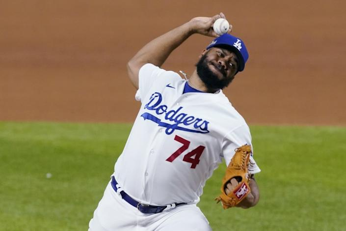 Los Angeles Dodgers pitcher Kenley Jansen delivers against the San Diego Padres.