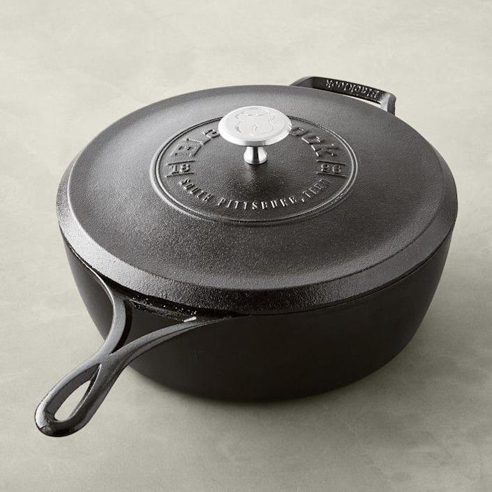 """<p><strong>Lodge</strong></p><p>williams-sonoma.com</p><p><strong>$149.95</strong></p><p><a href=""""https://go.redirectingat.com?id=74968X1596630&url=https%3A%2F%2Fwww.williams-sonoma.com%2Fproducts%2Flodge-blacklock-triple-seasoned-cast-iron-saute-pan&sref=https%3A%2F%2Fwww.goodhousekeeping.com%2Fcooking-tools%2Fcookware-reviews%2Fg35578159%2Fbest-camping-cookware-sets%2F"""" rel=""""nofollow noopener"""" target=""""_blank"""" data-ylk=""""slk:Shop Now"""" class=""""link rapid-noclick-resp"""">Shop Now</a></p><p>If you have the space in your car or RV to stow away a cast iron pot, there's no better option than this cast iron deep skillet. A top performer in our boiling and searing tests, this pot offers even heat distribution and unmatched durability. Because of its heavy weight (almost 11 pounds) it can be a bit more difficult to maneuver (especially over a campfire) and clean than the lighter cookware sets, but <strong>you can't beat the volume, toughness, and good looks of this sleek cast iron pot.</strong> The side handles and aluminum knobs become quite hot while cooking, so always use protective wear. Keep in mind, cast iron pots do require a bit more TLC than some of the other non-stick or aluminum camping cookware options, so plan to pack a clean rag and maybe a little bit of oil to help <a href=""""https://www.goodhousekeeping.com/home/cleaning/a46707/how-to-clean-cast-iron/"""" rel=""""nofollow noopener"""" target=""""_blank"""" data-ylk=""""slk:season"""" class=""""link rapid-noclick-resp"""">season</a> the pot after you use it. In our tests, we also used the 5.5 quart Dutch oven, which offered the same results when searing a steak, frying an egg, and boiling water, however we found it's slightly larger size to be a bit too much for outdoor camping.</p>"""