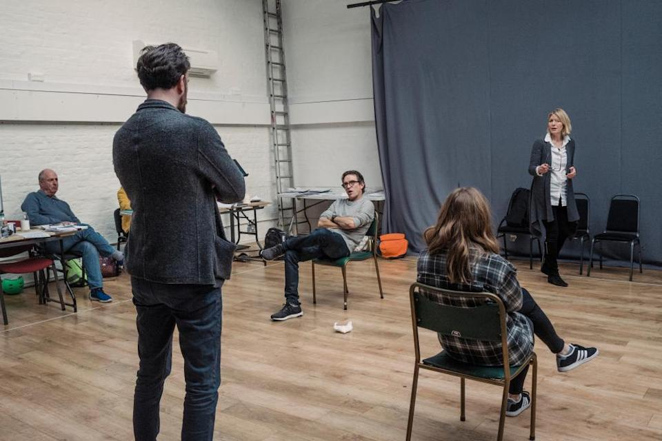 Roger Michell watches Pip Carter, Ben Chaplin, Seána Kerslake and Jemma Redgrave in rehearsals for Joe Penhall's Mood Music at the Old Vic.