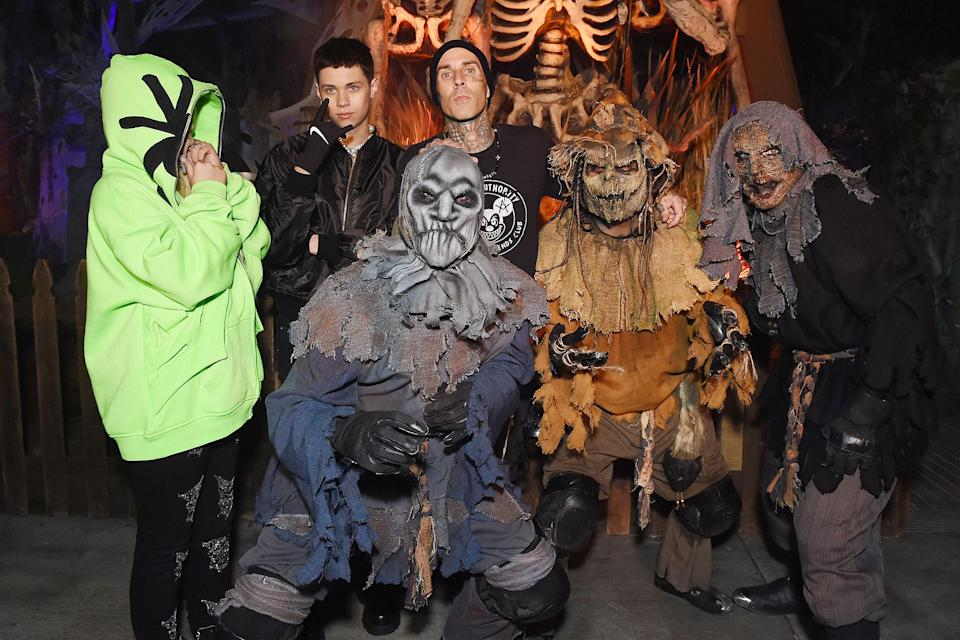 <p>almost blending in with the crew at Knott's Scary Farm in Buena Park, California, on Sept. 18.</p>