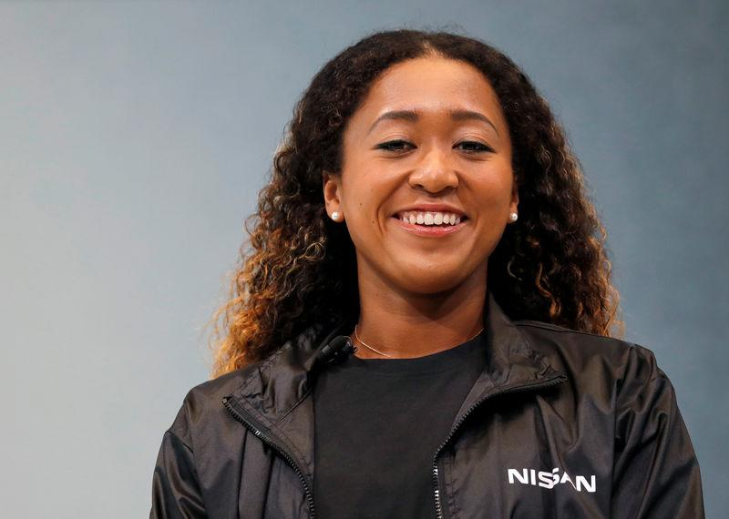 U.S. Open tennis champion Naomi Osaka attends a contract signing ceremony at Nissan's global headquarters in Yokohama