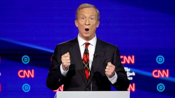 PHOTO: Democratic presidential hopeful Tom Steyer speaks during the fourth Democratic primary debate at Otterbein University in Westerville, Ohio, Oct. 15, 2019. (Win Mcnamee/Getty Images)