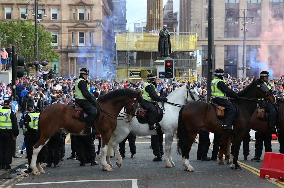 Police monitoring fans at last weekend's match against AberdeenPA Wire