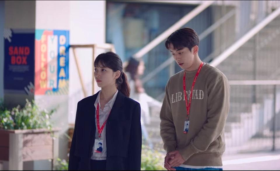 Nam Do San (Nam Joo Hyuk, right) tries to make things right with Seo Dal Mi (Bae Suzy) after an emotional confrontation in Start-Up.