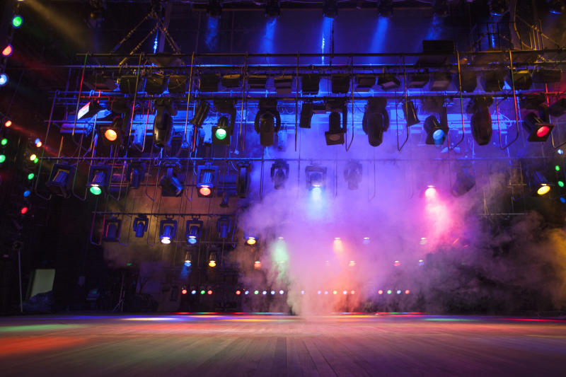 Theatre lights on stage. (Credit: Getty)