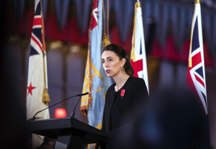 New Zealand's Prime Minister Jacinda Ardern speaks during a national memorial service for Prince Philip at the Cathedral of St. Paul in Wellington, New Zealand. Prince Philip was remembered as frank, engaging and willing to meet people from all walks of life during his 14 visits to the country. (Robert Kitchin/Pool via AP)