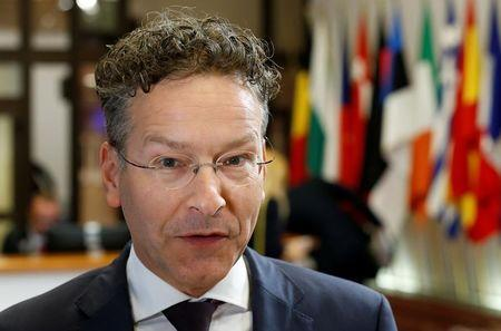 Dutch Finance Minister and Eurogroup President Dijsselbloem arrives at Eurozone finance ministers meeting in Brussels