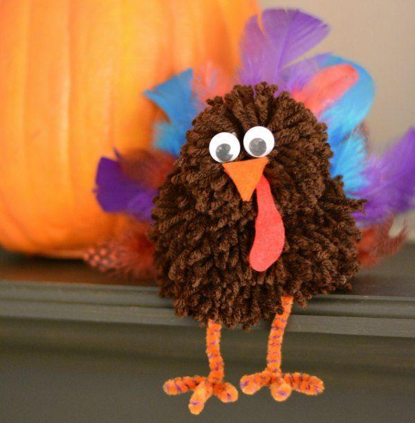 """<p>Soft and sweet, these yarn turkeys are way cuter than the birds your kids will spot at the farm. They're more cuddly, too. </p><p><em><a href=""""https://growingupgabel.com/pom-pom-thanksgiving-craft/"""" rel=""""nofollow noopener"""" target=""""_blank"""" data-ylk=""""slk:Get the tutorial at Growing Up Gabel »"""" class=""""link rapid-noclick-resp"""">Get the tutorial at Growing Up Gabel »</a></em></p>"""