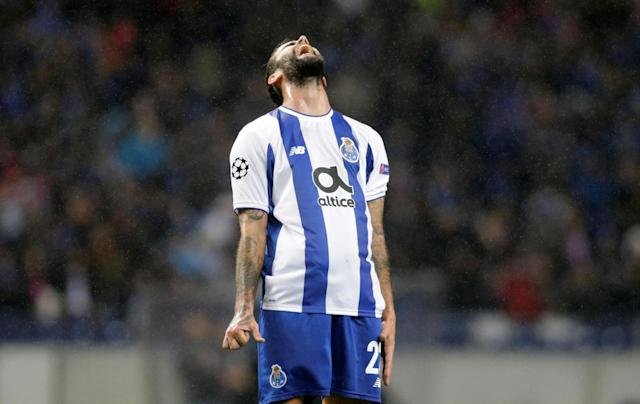Soccer Football - Champions League Round of 16 First Leg - FC Porto vs Liverpool - Estadio do Dragao, Porto, Portugal - February 14, 2018 Porto's Sergio Oliveira reacts REUTERS/Miguel Vidal