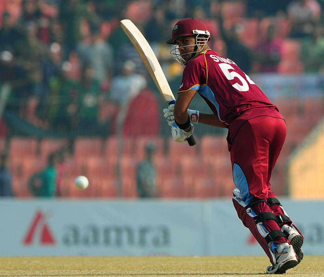 West Indies cricketer Lendl Simmons plays a shot during the first one day international cricket match between Bangladesh and The West Indies at The Sheikh Abu Naser Stadium in Khulna on November 30, 2012.  AFP PHOTO/ Munir uz ZAMAN