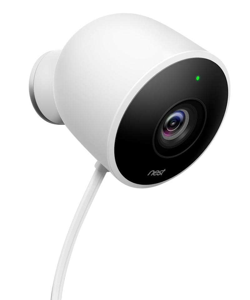 """<p>A cinch to install without the help of a professional, the newest from Nest lets you stream footage from anywhere on your property 24/7 and saves it for up to 30 days. You'll get a convenient smartphone notification anytime motion is detected, specifying whether the camera hears a noise from afar or senses a person on the premises. Perfect for peace of mind--but hey, we won't judge if you're using it just to peek in on your pooch.</p>  <p><em>Nest Cam Outdoor, $200; <a rel=""""nofollow"""" href=""""https://ec.yimg.com/ec?url=http%3a%2f%2fclick.linksynergy.com%2ffs-bin%2fclick%3fid%3d93xLBvPhAeE%26amp%3bsubid%3d0%26amp%3bofferid%3d460242.1%26amp%3btype%3d10%26amp%3btmpid%3d13127%26amp%3bRD_PARM1%3dhttp%3A%2F%2Fwww.bestbuy.com%2Fsite%2Fnest-cam-outdoor-1080p-security-camera-white%2F5451208.p%3FskuId%3D5451208%26amp%3bu1%3dISHASMARTHOME%26quot%3b%26gt%3bbestbuy.com%26lt%3b%2fa%26gt%3b.%26lt%3b%2fem%26gt%3b%26lt%3b%2fp%26gt%3b&t=1508563626&sig=QwYIh0MDMpyjNCS_SntutQ--~D"""