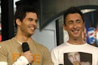 <p>James Marsden laughed with Alan Cumming when they appeared on <b>TRL</b> together in 2003.</p>