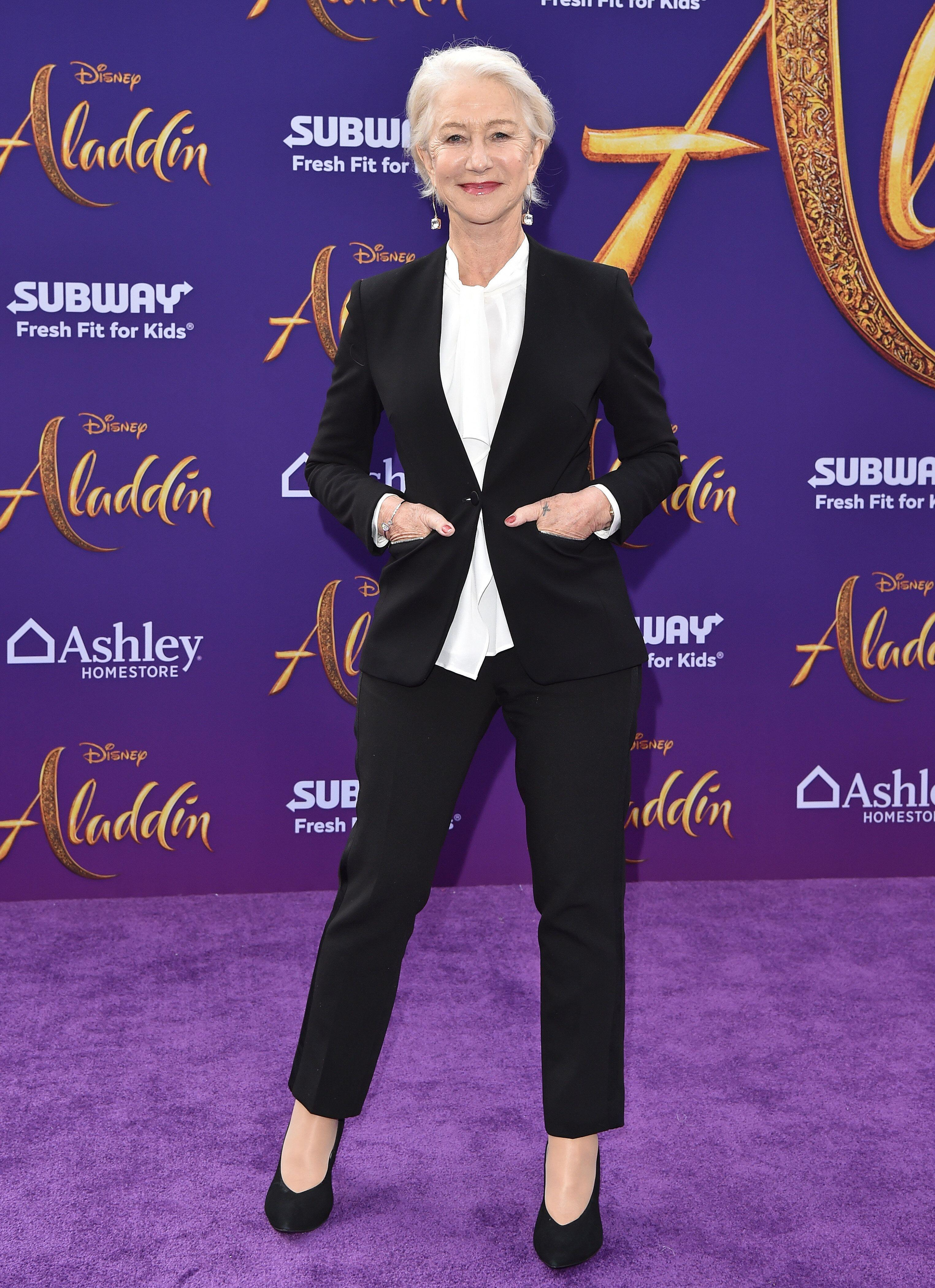 "LOS ANGELES, CALIFORNIA - MAY 21: Helen Mirren attends the premiere of Disney's ""Aladdin"" on May 21, 2019 in Los Angeles, California. (Photo by Axelle/Bauer-Griffin/FilmMagic)"