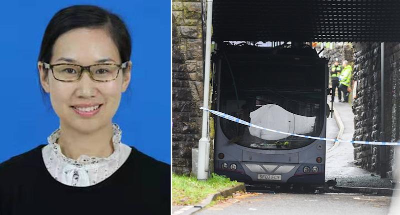 Jessica Jing Ren died after suffering injuries when a double-decker bus crashed into a railway bridge in Swansea earlier this month (Pictures: PA/Wales News Service)