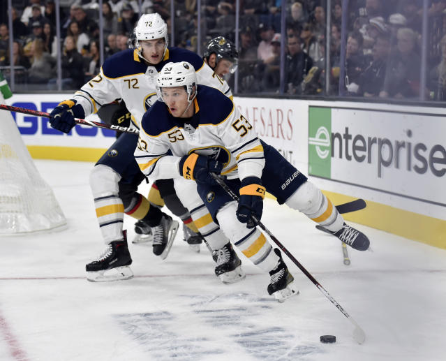 Buffalo Sabres left wing Jeff Skinner (53) skates with the puck against the Vegas Golden Knights during the third period of an NHL hockey game, Tuesday, Oct. 16, 2018, in Las Vegas. (AP Photo/David Becker)
