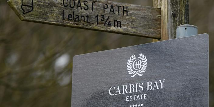 A signpost is seen at the Carbis Bay Estate hotel and beach, set to be the main venue for the upcoming G7 summit, on March 02, 2021 in Carbis Bay, Cornwall, United Kingdom. The June summit will be the first face-to-face meeting between G7 leaders since the covid-19 pandemic. G7 countries include the UK, US, Germany, France, Canada, Italy and Japan. (Photo by Leon Neal/Getty Images)