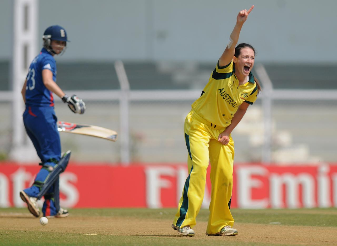MUMBAI, INDIA - FEBRUARY 08:  Megan Schutt of Australia appeals successfully for the wicket of Charlotte Edwards captain of Egnland during the super six match  between England and Australia held at the CCI (Cricket Club of India)  on February 8, 2013 in Mumbai, India.  (Photo by Pal Pillai/Getty Images)