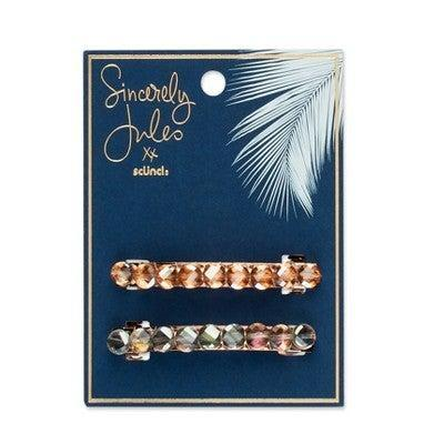 """<h3>Sincerely Jules by Scünci Barrettes with Stone</h3> <br>These rhinestone-studded barrettes, in antique gold and shimmering blue, beg to be stacked together.<br><br><strong>Sincerely Jules by Scunci.</strong> Sincerely Jules by Scunci Barrettes with Stone - 2ct, $, available at <a href=""""https://go.skimresources.com/?id=30283X879131&url=https%3A%2F%2Fwww.target.com%2Fp%2Fsincerely-jules-by-scunci-barrettes-with-stone-2ct%2F-%2FA-79438127%23locklink"""" rel=""""nofollow noopener"""" target=""""_blank"""" data-ylk=""""slk:Target"""" class=""""link rapid-noclick-resp"""">Target</a><br>"""