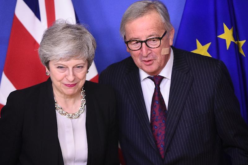 One day after Prime Minister Theresa May (L, pictured February 20, 2019) met EU Commission president Jean-Claude Juncker, her Brexit minister and attorney general were back in Brussels for talks with EU negotiators (AFP Photo/JOHN THYS)