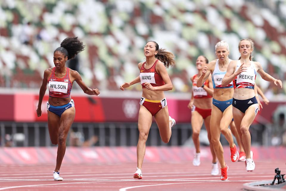 File: Ajee Wilson of Team United States and Chunyu Wang of Team China compete during the Women's 800m heats  at the Tokyo 2020 Olympic Games (Getty Images)