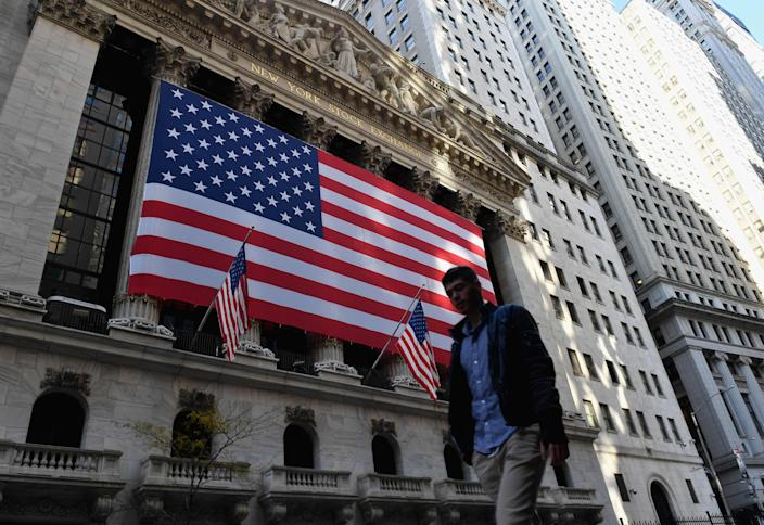 Stock markets in the US and Europe rose on Monday after further promising data on a coronavirus vaccine (AFP via Getty Images)