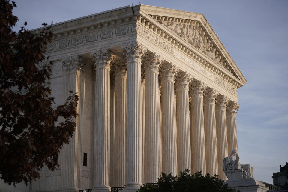 FILE - In this Nov. 5, 2020, file photo the Supreme Court is seen in Washington. The pending Supreme Court case on the fate of the Affordable Care Act could give the Biden administration its first opportunity to chart a new course in front of the justices. (AP Photo/J. Scott Applewhite, File)