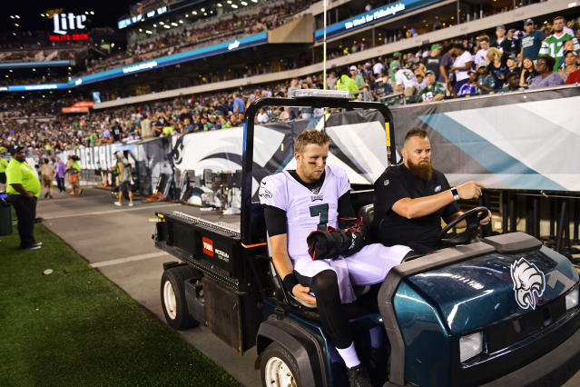 The Eagles may be scrambling to back up Carson Wentz after an apparent injury to Nate Sudfeld. (Getty)