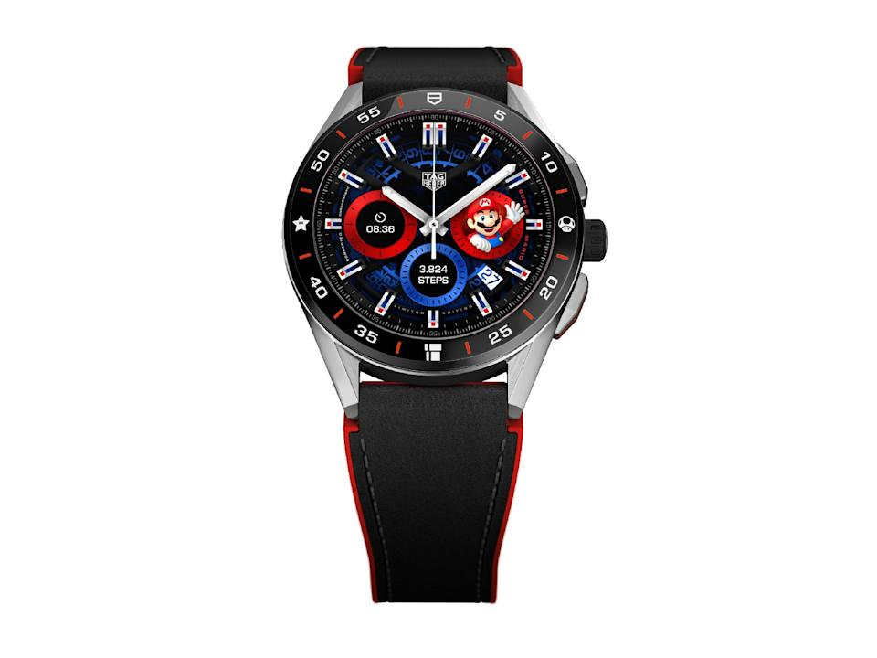 <p>Front view of the Tag Heuer Connected Limited Edition Super Mario with a black-and-red strap.</p>