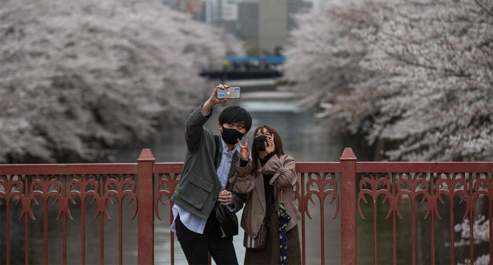 A couple takes a selfie on a bridge in Japan, with cherry blossoms in full bloom behind them.