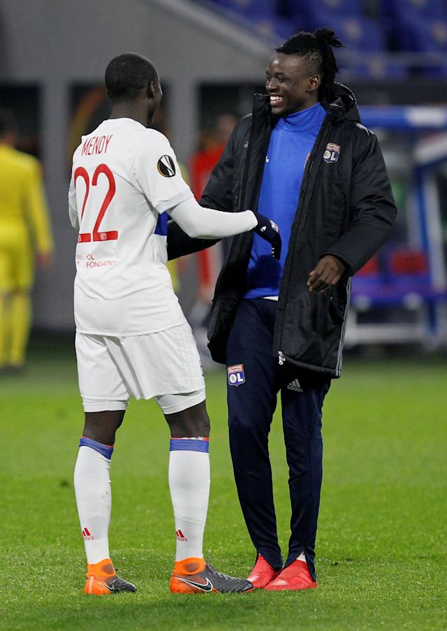 Soccer Football - Europa League Round of 32 First Leg - Olympique Lyonnais vs Villarreal - Groupama Stadium, Lyon, France - February 15, 2018 Lyon's Bertrand Traore and Ferland Mendy celebrate after the match REUTERS/Emmanuel Foudrot